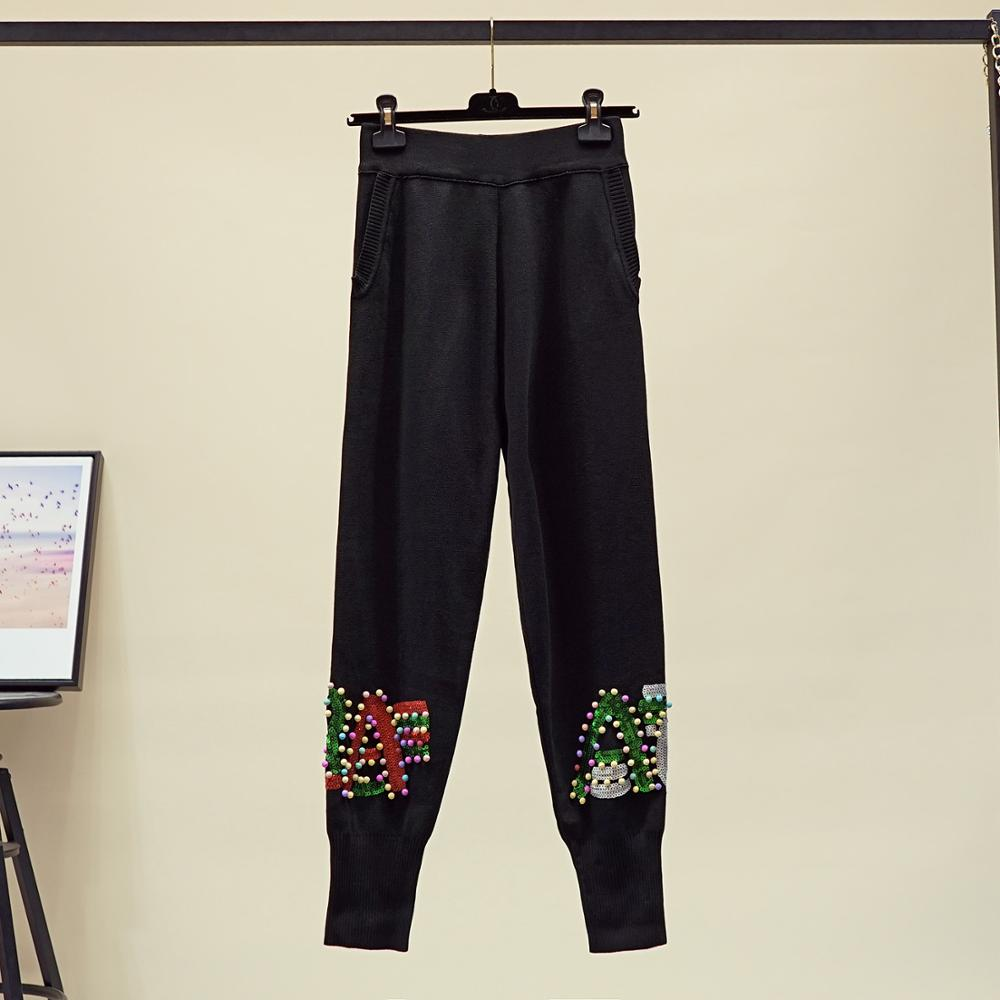 Luxury Brand Designer Runway 2 Piece Set For Women Beaded Sequined Letters Knitted Top And Knitted Haroun Pants Set Black - 3