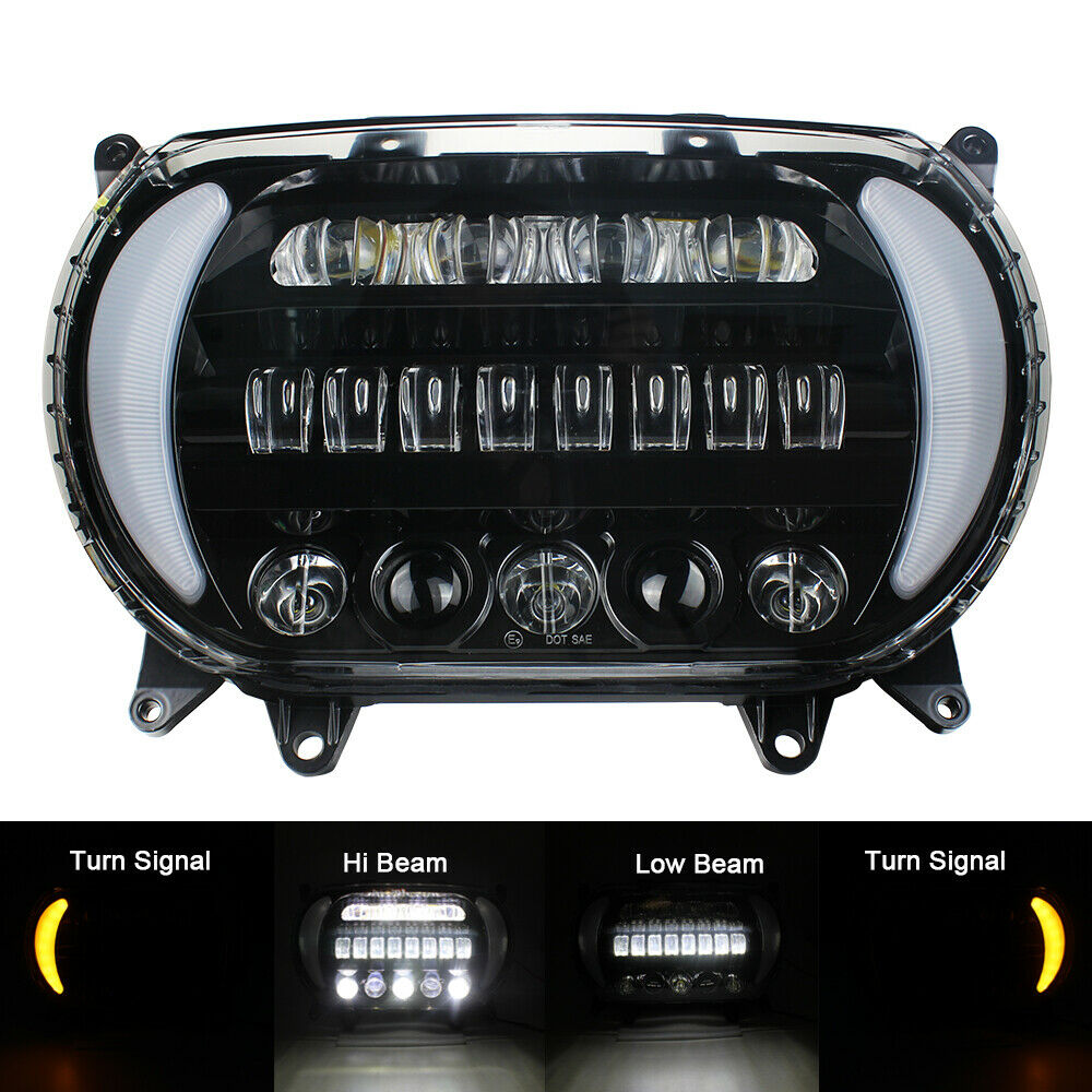 Image 2 - 2019 New Dual Double Headlight For Harley Road Glide 2018 2019 Motorcycle Headlamp Bulbs light    -