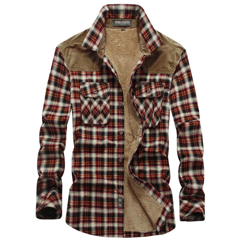 Helisopus Brand Plaid Shirt Men Wool Fleece Thick Warm Shirts Long Sleeve Casual Shirts Camisa Social Masculina