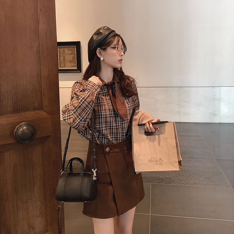 MISHOW Women Spring Summer Vintage Plaid Blouse Long Sleeves Bow Neck Single-breasted Shirt Tops  MX19D4117