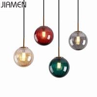 Jiamen 현대 유리 펜 던 트 조명 led g9 매달려 램프 골드 라운드 비품 홈 거실 침실 부엌 장식 luminaire