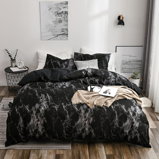 Bedding Set Marbled Black With White