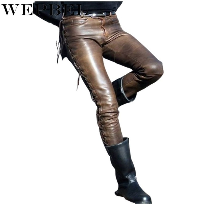 WEPBEL Men Straight PU Leather Pants Biker Motocycle Long Leather Loose Street Style Steampunk Trousers Rock Roll Long Pants