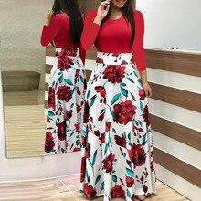 Maxi Dress Spring O Neck Long Dresses Fashion Sleeve 2019 Elegant Printed Autumn Red flower Casual