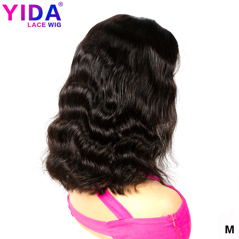 13x4 Body Wave Lace Front Human Hair Wigs Brazilian Short Bob Wigs Pre Plucked Remy Medium Ratio 150% Density Yida Hair