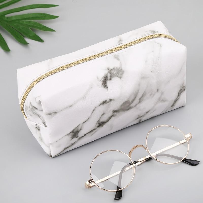 Large Cute Pencil Case Pen Box Zipper Bags Marble Makeup Storage Supplies 1014