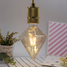 Edison Bulb 220V 4W E27 LED Bulb Shaped Lamp Tip Drill Filament Decoration Lamp Retro Gold Diamond Spiral Bulb Chandelier