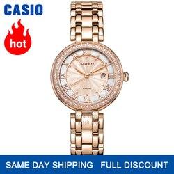 Часы Casio SHEEN женские часы Swarovski Crystal топ класса люкс комплект 50м Водонепроницаемые кварцевые женские часы женские Розовое золото Подарки Час...