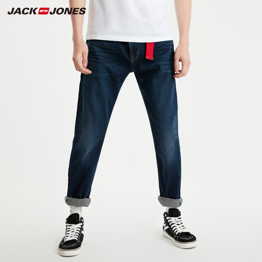 JackJones Men's Slim Fit Dark Color Tight-leg Basic Jeans Menswear| 219132542