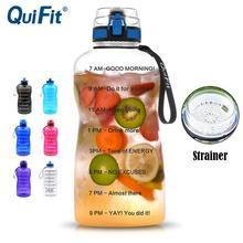 QuiFit 2L 1.3L 450ml ครึ่งแกลลอนขวดน้ำกีฬา Tritan ล็อค Flip Flop Infuser สุทธิ clear ดื่มขวด