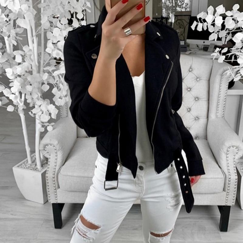 Autumn Women Basic Jackets 2019 Black Slim Lady Ja
