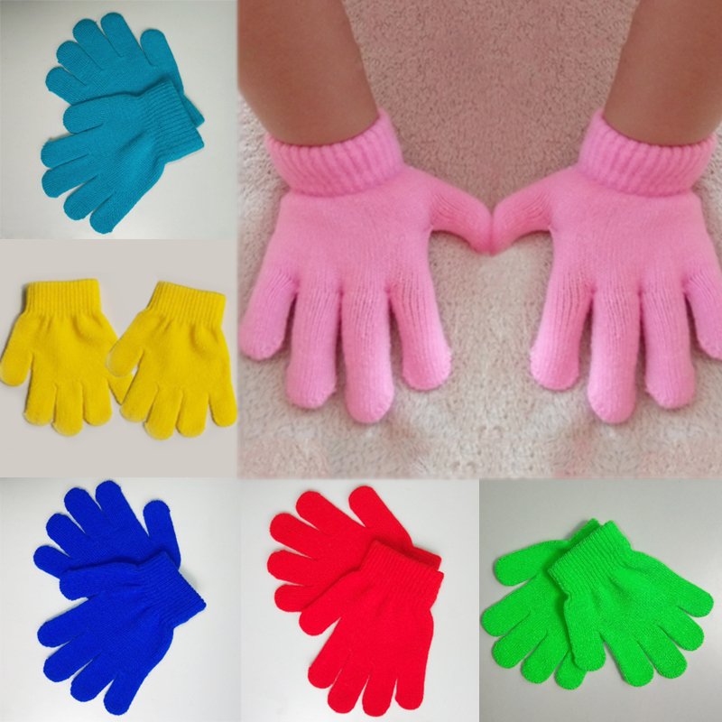Windproof Solid Color  Knitting  Child  Lovely  Magic Gloves Autumn And Winter 1 PC Keep Warm  Student