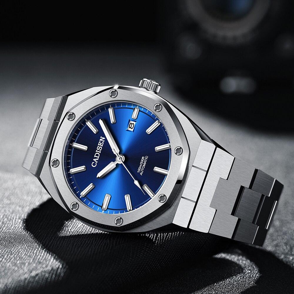 CADISEN Design Brand Luxury Men Watches Mechanical Automatic Blue Watch Men 100M Waterproof Casual Business luminous Wristwatch 3