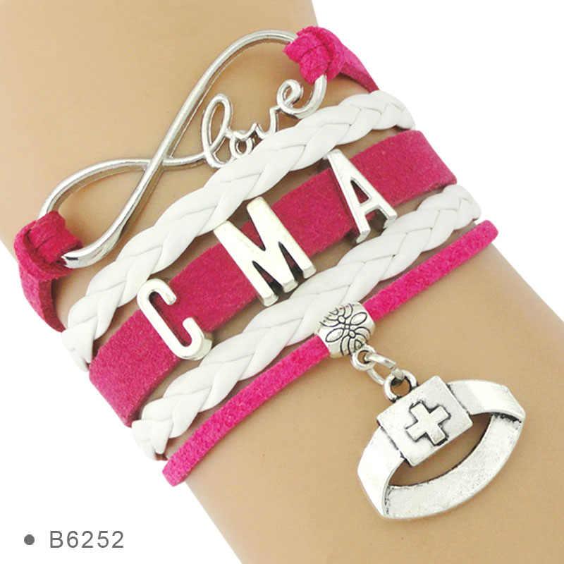 Высококачественный Серебряный медицинский помощник Infinity Love CNA CMA ICU LPN LVN, браслеты медсестры для женщин