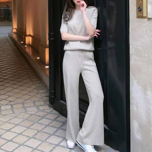 Femme Femmes Co-Ord Set Split Bras Tricot Haut Jambe Large Pantalon 8-14