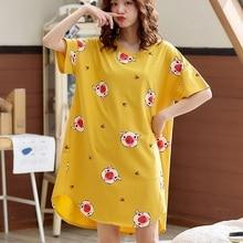 2020 Summer Women Knee-Length Night Dress Cute Cartoon Print Short-sleeves Knee-Length Nightgown