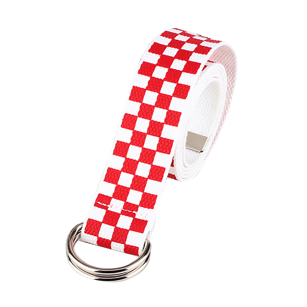 New Casual Men Women Checkerboard Canvas D Ring Belt Plaid Waist Strap Waistband