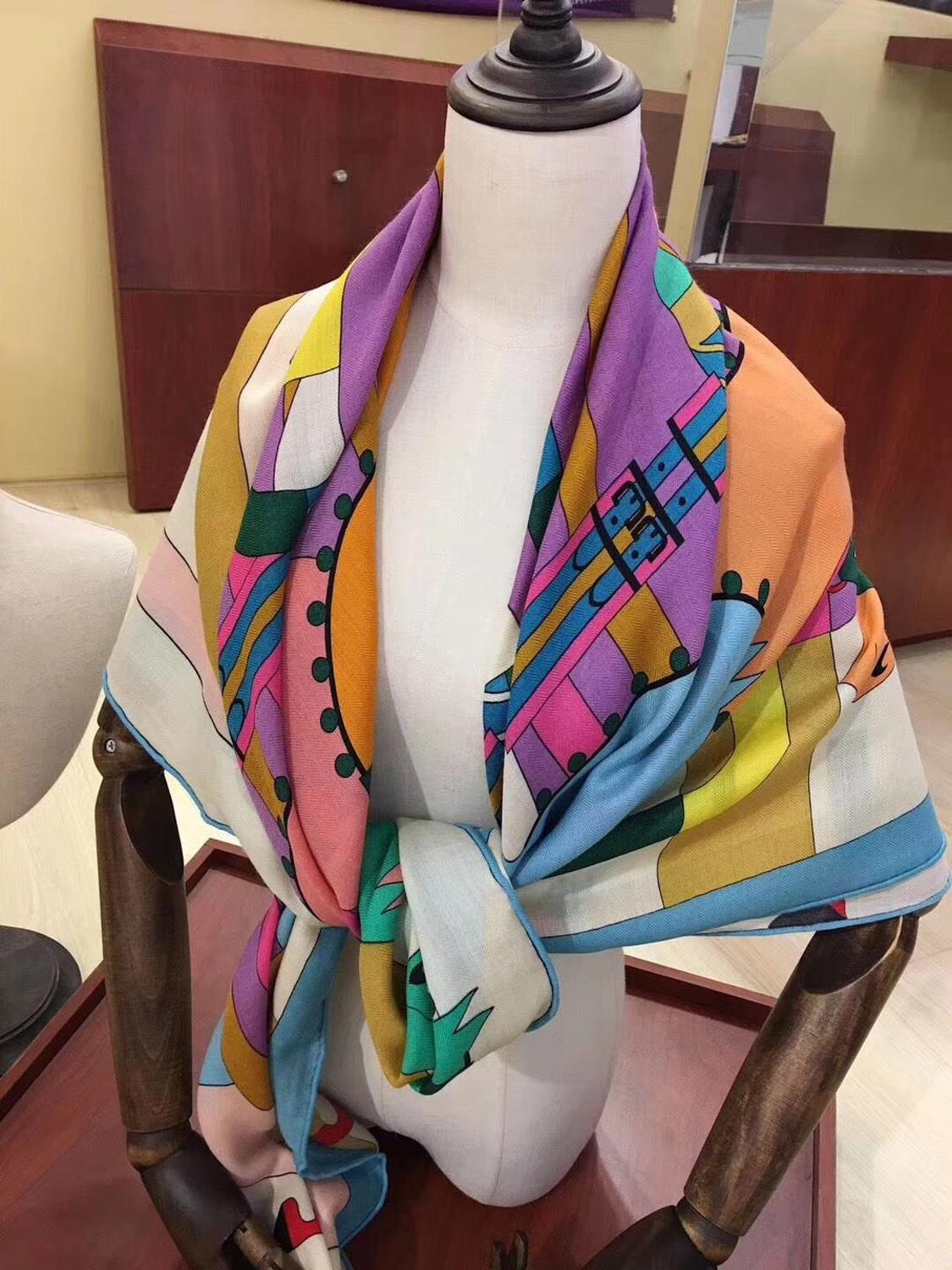 2020 New Arrival  Horse Pattern 65% Cashmere 35% Silk Scarf Twill Hand Made Roll 140*140 Cm Squareshawl Wrap For Women Lady Gift