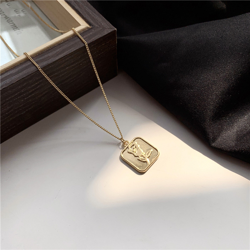 Classic Metal Square Rose Flower Petal Relief Pendent Necklace Korean Letter Love Necklace for Women Men Girls Neck Jewelry Gift