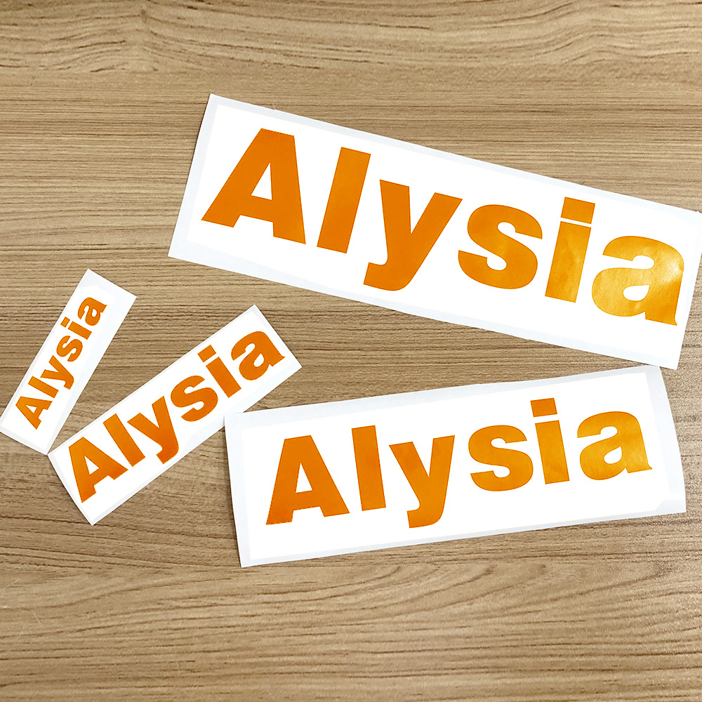 1Pcs Vinyl Custom Name Sticker Orange Personalised Die Cut Label Matt PVC Waterproof Tags For Water Bottle Lanch Box Home Decor