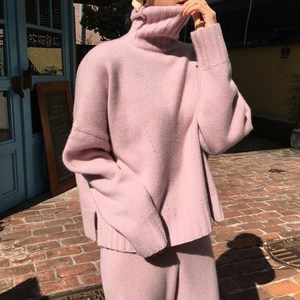 CINESSD Women's Knitted Suits Autumn Winter Knitted Pants+Loose Thick Turtleneck Sweaters Wide Leg Pants Trousers Two-piece Set