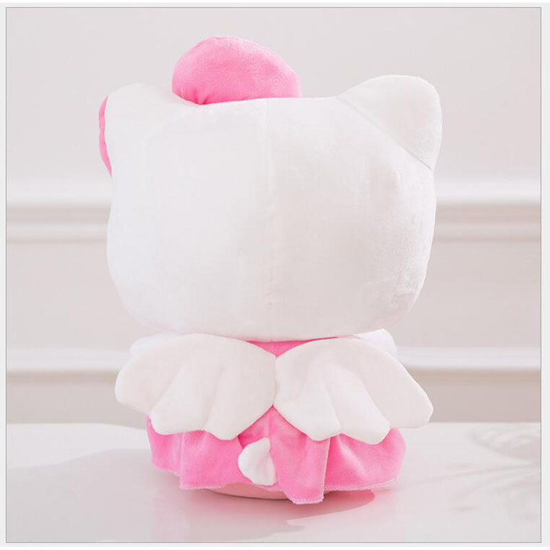 25/30/40cm High Plush Pink Color Cat Doll Bowknot Dress Sit Kitty Stuffed Doll Toy With Heart Children Valentine Birthday Gift