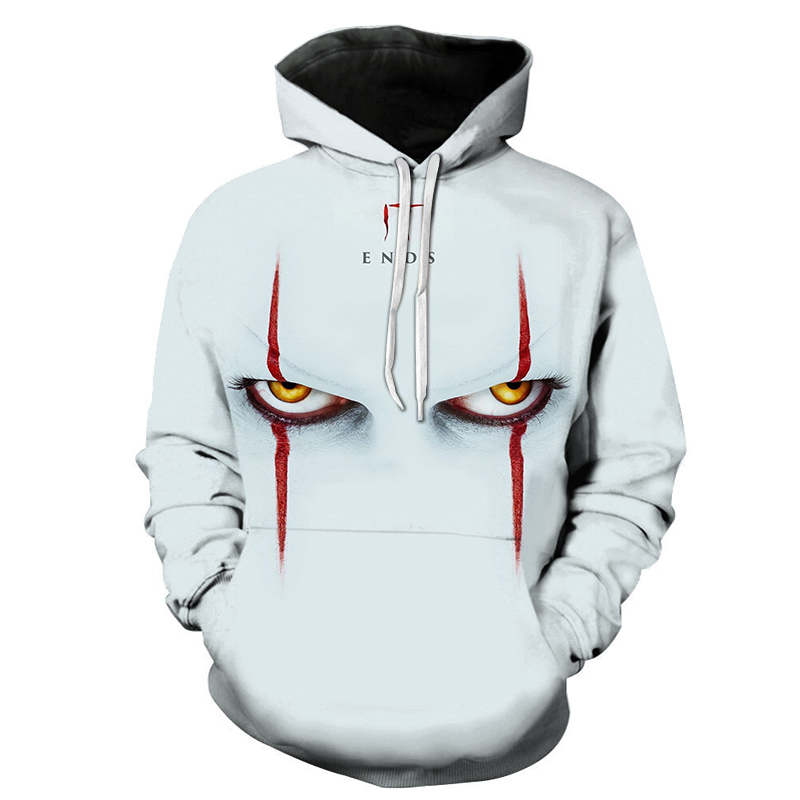 2019 New Fashion IT Clown <font><b>3D</b></font> Print <font><b>Hoodie</b></font> Horror Movie Harajuku Pullover Wild <font><b>Hoodie</b></font> White White <font><b>Unisex</b></font> Jacket image