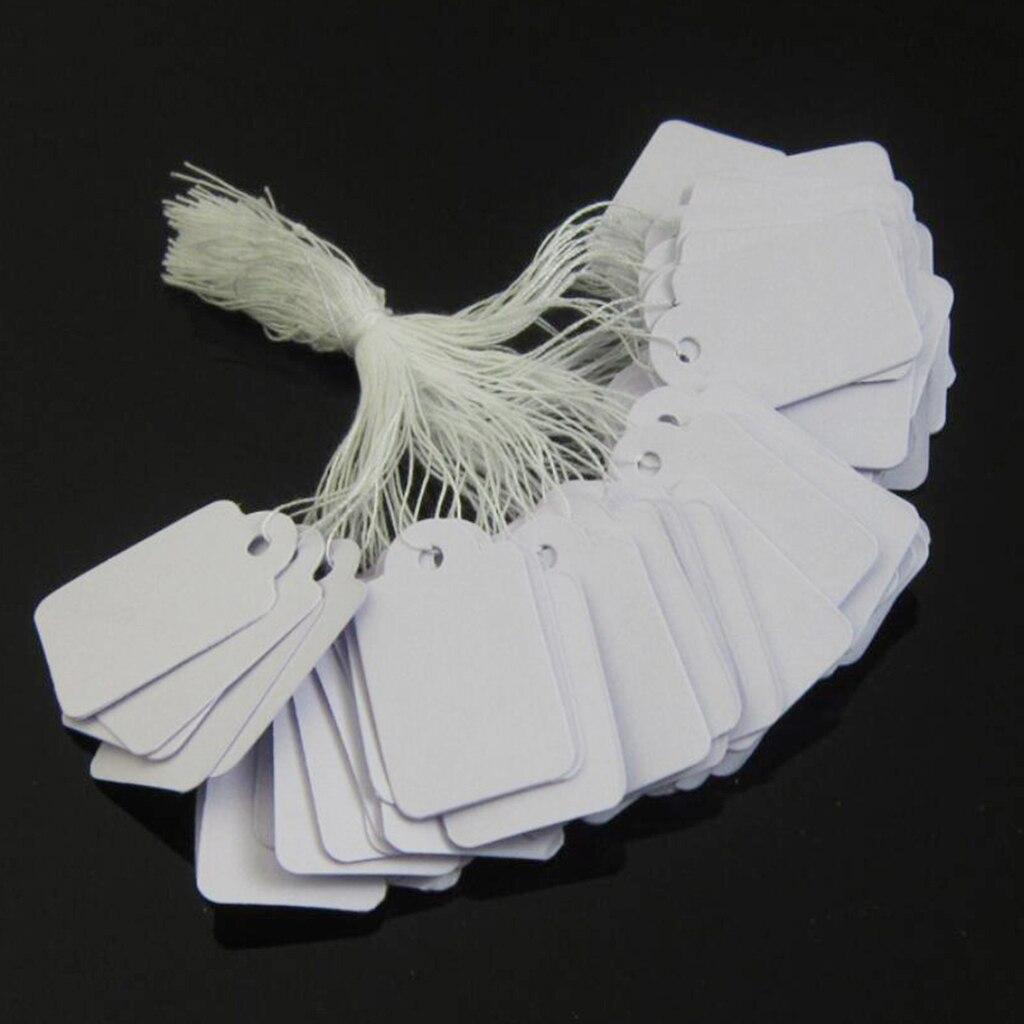 100pcs Price Tags Tie On White Strung Display Sales Price Label Supplies