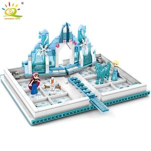 Image 3 - HUIQIBAO 575Pcs 스노우 퀸 매직 도서 빌딩 블록 장난감 여자 친구 궁전 얼음 성 공주 인물 벽돌 아이 선물 장난감