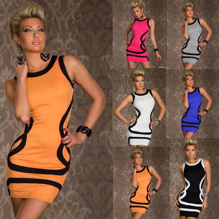 Daily Suit OWLPRINCESS 2020 Summer Mixed Colors Stripes-Slim Fit Nightclub Full Body Dress