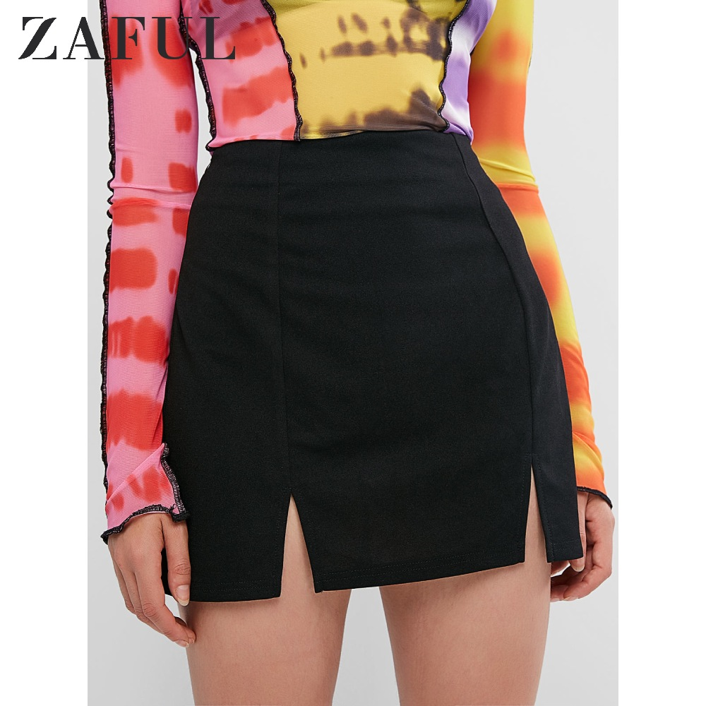 ZAFUL Slit Mini Skirt Bodycon Solid Zipper Fly Skirt Sexy Short Skirt Detail Womens 2019 Autumn Casual Club Style A Line Skirt