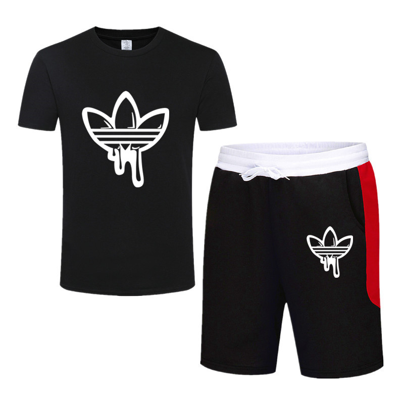Men Sportswear Suits For Teenagers Summer Two Pieces Printed O Neck T Shirt Shorts Set Mens Casual Tracksuit Pants Brand Clothes