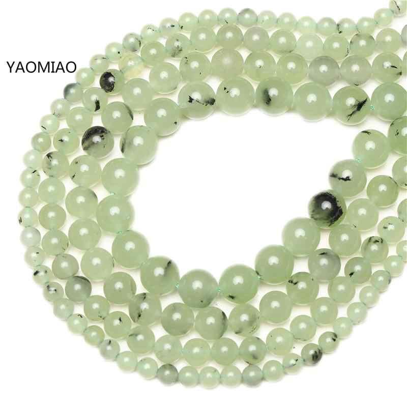 Permata Alami Batu Prehnites Jade Kuarsa Bulat Manik-manik Longgar 6/8/10/12 Mm Pilih Ukuran Manik-manik untuk Membuat Perhiasan