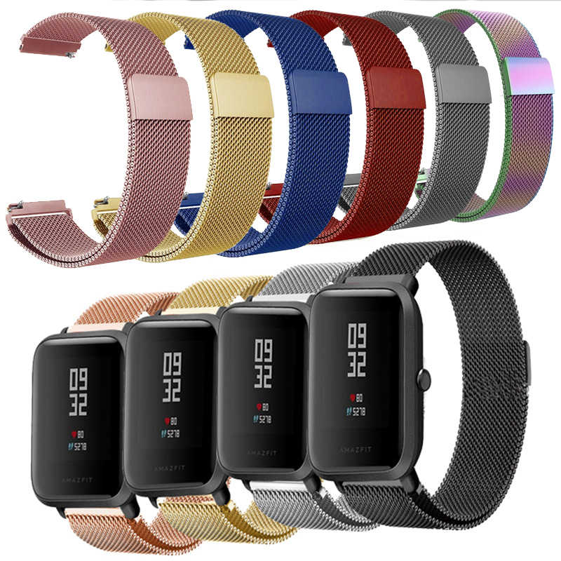 Milanese Loop Band untuk Amazfit Bip S Tali Stainless Steel Samsung Galaxy Menonton 46 Mm Milanese Band 20 Mm 22mm 18 Mm 24 Mm 23 Mm