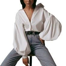 Женский модный Повседневный Топ с длинным рукавом на пуговицах