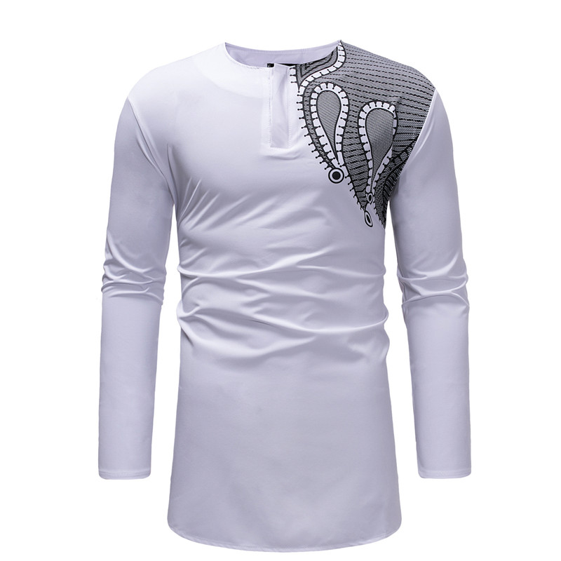 Mens African Dashiki Print Longline T Shirt 2020 Brand Streetwear Men African Clothes Slim Fit Long Sleeve African Tops Tees 3XL