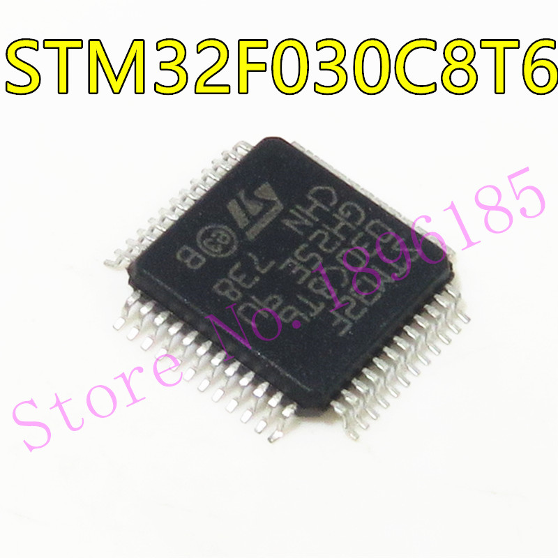 1 pçs/lote Nnew original STM32F030C8T6 STM32F030 32-microcontrolador 8-bit 48MHZ LQFP-48 chip IC