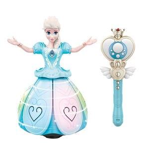Disney из мультика замерзшая, Электрический Танцы игрушки Эльза, Анна, кукла, с нашивкой «Крылья» фигурку вращающийся проекционный светильник ...