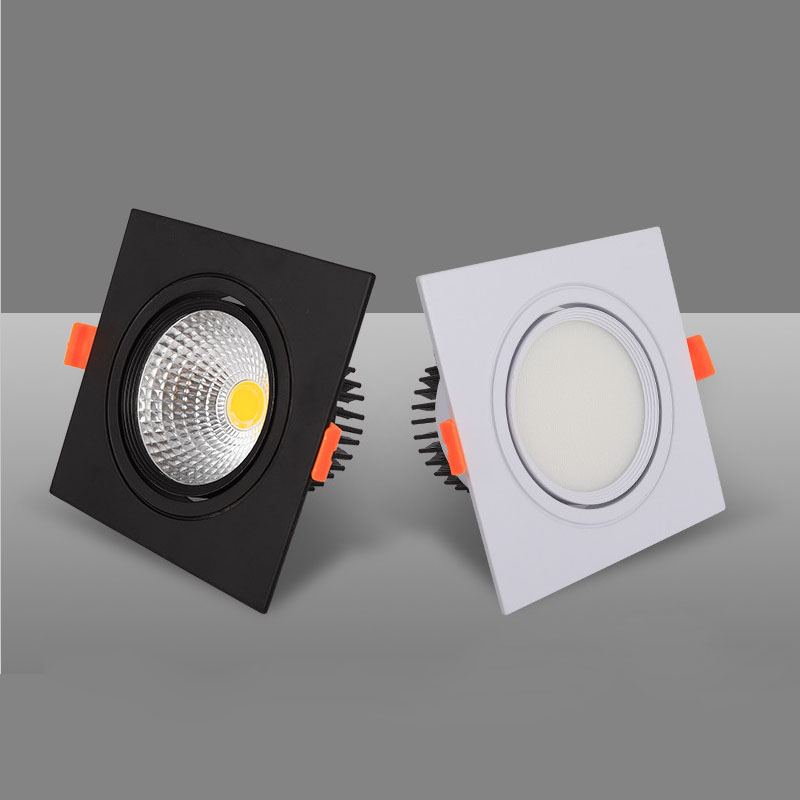 Square Dimmable Recessed COB LED Downlights 7W 9W 12W 15W 18W LED Ceiling Spot Lights AC85-265V Warm Cold White Indoor Lighting