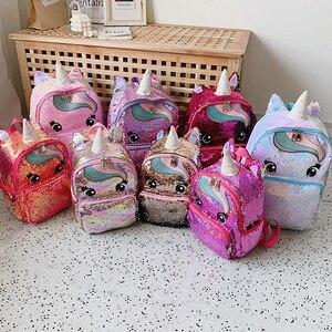 Image 5 - Cartable multicolore licorne pour enfants, sac à dos pour filles, sac décole à paillettes, sac décole pour adolescents