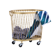 Nordic Wrought Iron Storage Basket Bathroom Dirty Clothes Basket Light Luxury Golden Toy Clothes Storage Basket With Pulley