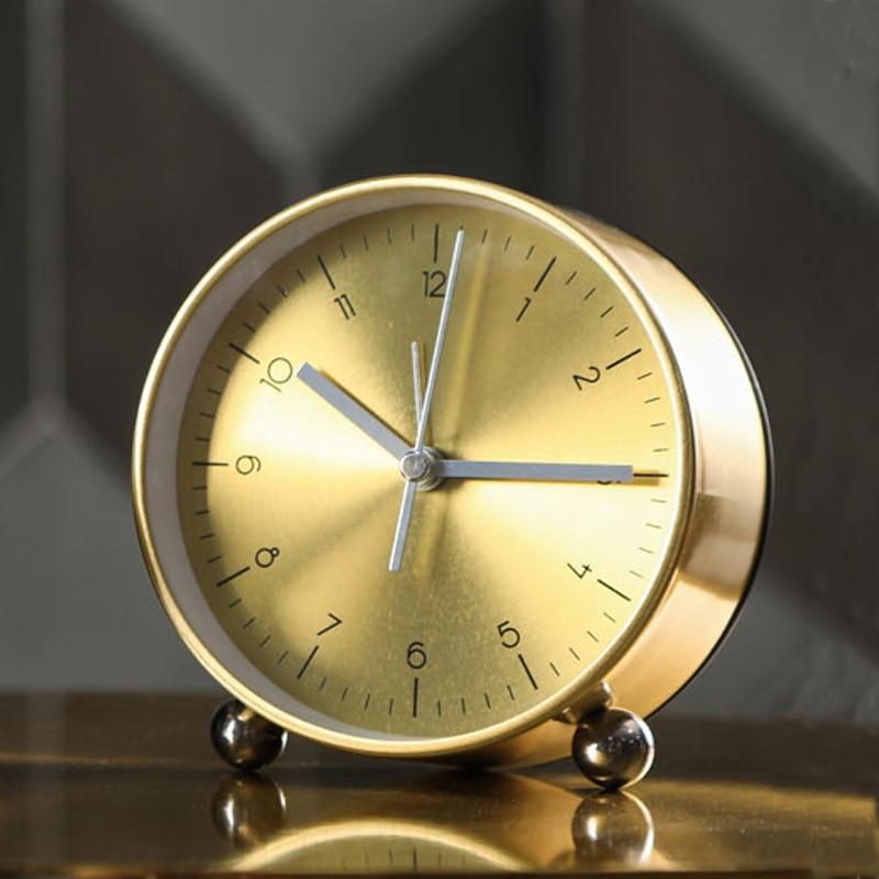 Nordic Small Alarm Clock Creative Personality Simple Student Table Clock Bedroom Desktop Bedside Desk Clock Mute Table Watch