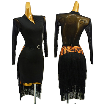Black Latin Dance Dress Ladies Prom Club Stage Outfit Leopard Fringe Skirt Practice Clothes Female Rumba Gatsby Salsa Dress 1589