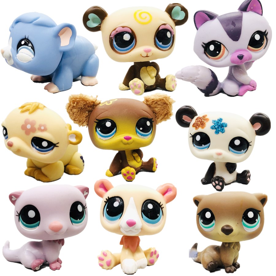Original Cute Toys Lovely Petshop Animal Pet Spectacle Bear  Panda Raccoon Action Figure Littlest Doll Little Gift Girl Toy