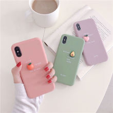 3D Candy Color Avocado Letter Soft Phone Case For iPhone 11 pro XS MAX XR X TPU Silicone 7 6 6S 8 Plus Cover