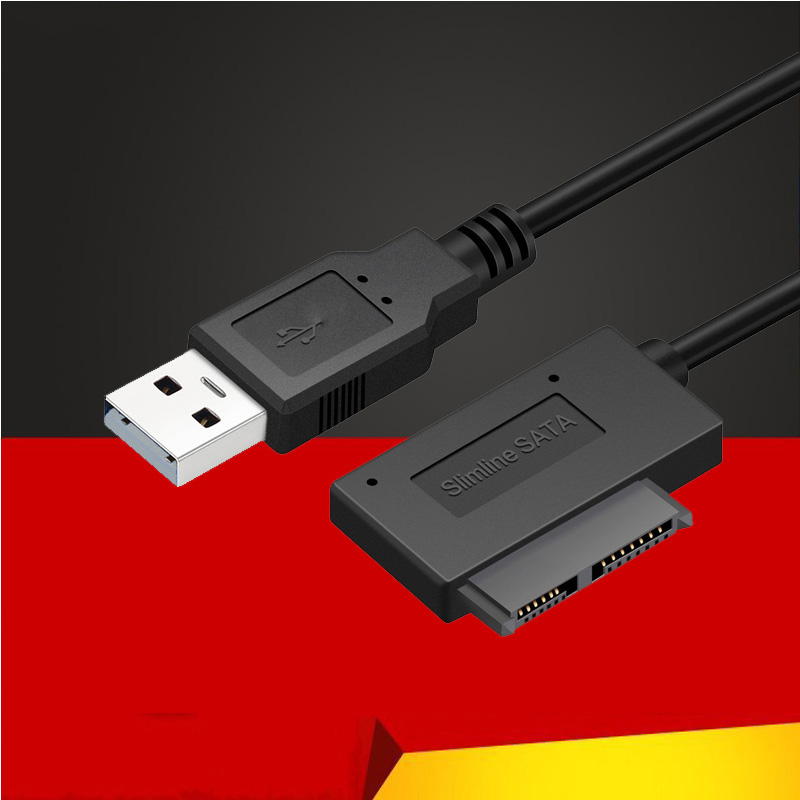 35CM USB 2,0 a Mini Sata II 7 + 6 13Pin Adaptador convertidor de Cable para ordenador portátil de CD/DVD ROM Slimline convertidor HDD Caddy