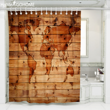 Brown Wood World Map 3D Waterproof Shower Curtain Drapes Polyester Fabric Bathroom Bath Toilet with Hooks 180x240