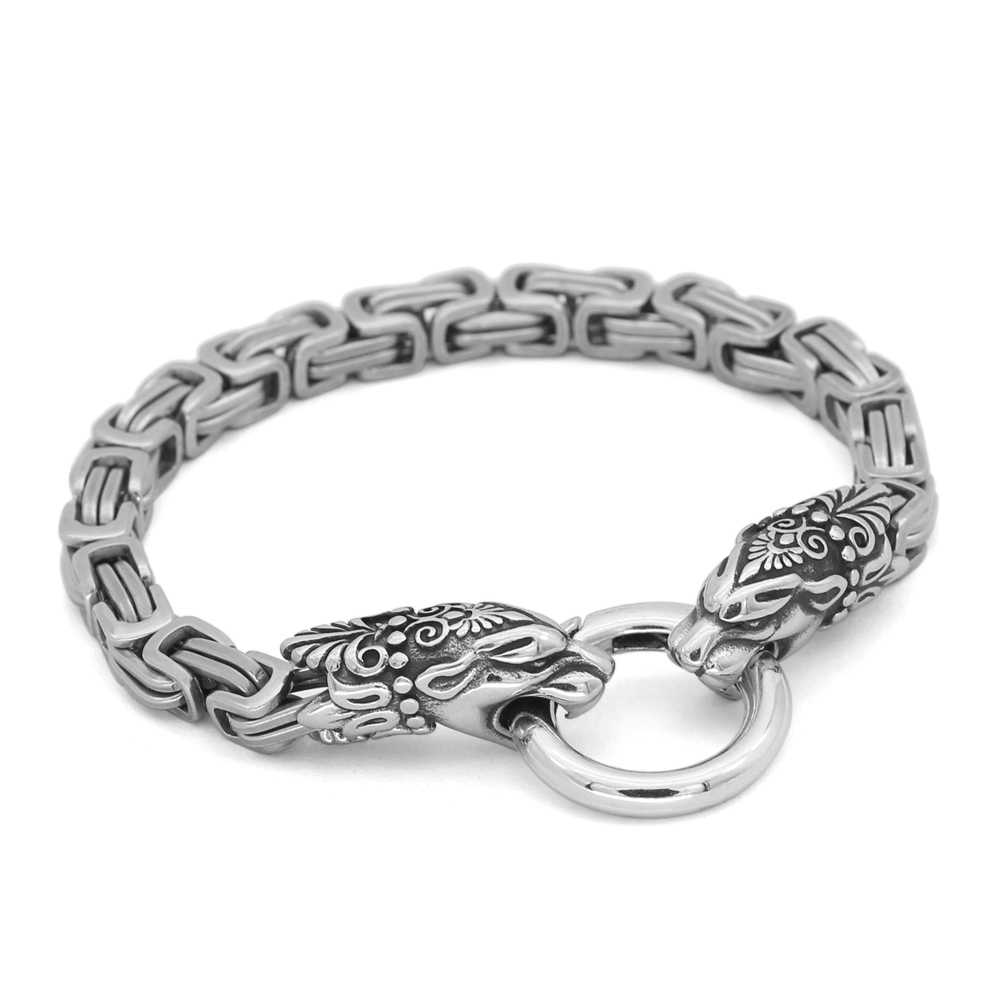 Nórdico viking odin lobo escandinavo rei corrente amuleto pulseira para homem de aço inoxidável 17-25cm