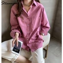 Kadın gömlek resmi Vintage bluz bayan artı boyutu üstleri OL Chemise Femme Manche Longue 4XL büyük boy pamuklu beyaz gömlek kadın