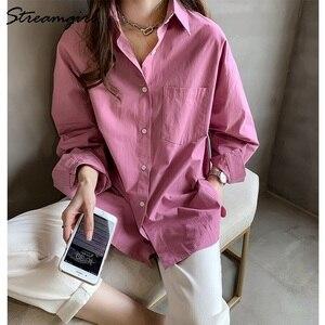 Image 1 - Kadın gömlek resmi Vintage bluz bayan artı boyutu üstleri OL Chemise Femme Manche Longue 4XL büyük boy pamuklu beyaz gömlek kadın